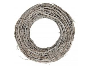 Bílý dekorační dřevěný věnec Pierres – Ø 30*8 cm