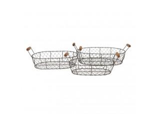 Sada 3 drátěných košíků Filaire  - 42*27*15 / 38*23*14 / 34*19*13 cm
