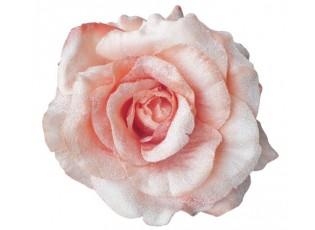 Dekorační květina broskvovo - růžová růže s klipem - Ø14*7 cm