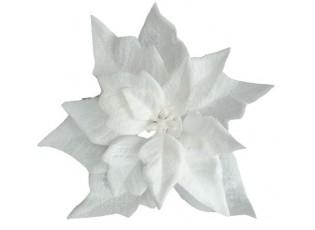 Dekorační květina bílá vánoční hvězda s klipem - Ø16*5 cm