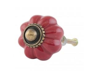 Keramická červená úchytka ve tvaru květiny – Ø 3 cm