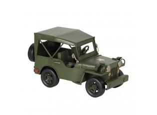 Zelený kovový model džípu - 17*9*10 cm