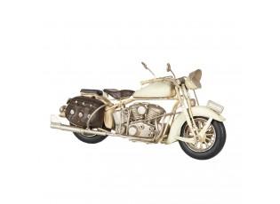 Retro kovový model motorky v krémové barvě - 28*11*14 cm