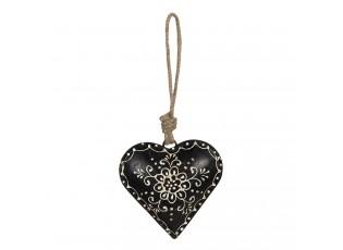 Černé závěsné kovové srdce s patinou - 27*12*27 cm