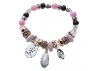 Náramek s barevnými korálky růžová/stříbrná - Ø 6-7cm