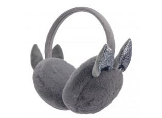 Šedé klapky na uši se třpytivými oušky - 13 cm