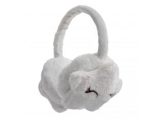 Bílé chlupaté dětské klapky na uši hvězdičky