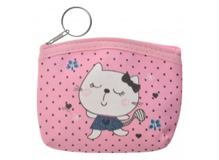 Krásná růžová peněženka s malovanou kočičkou.