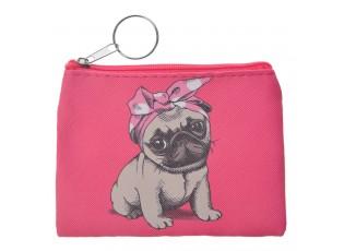 Roztomilá růžová peněženka s pejskem.