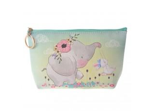 Tyrkysová toaletní taška se sloníkem - 21*12 cm
