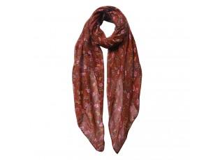 Hnědý šátek s kytkami - 80*180 cm