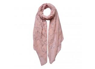 Růžový šátek s květovanými kruhy - 70*180 cm