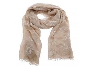 Světle hnědý šátek s bílými hvězdičkami - 70*180 cm