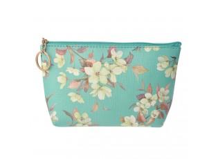 Tyrkysová toaletní taška s květy - 21*12 cm