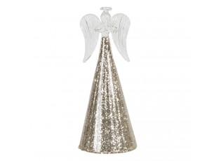 Dekorační skleněný anděl s třpytivým podstavcem Léonne – Ø 8*18 cm