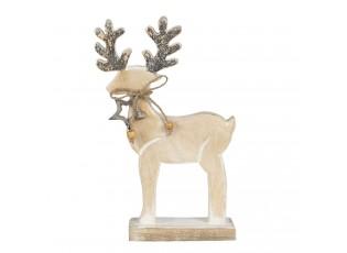 Vánoční dřevěná dekorace Jelen s hvězdičkou - 17*5*23 cm