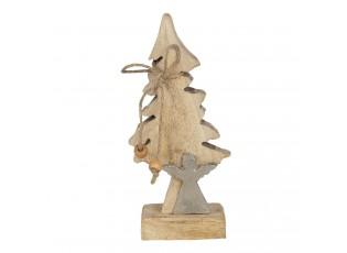 Dřevěná dekorace vánoční strom s andělem - 7*5*17 cm