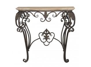 Dřevěno-kovový konzolový stůl s patinou Evariste - 88*43*79 cm