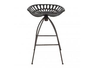 Hnědá kovová barová židle v retro stylu Gysbert- 47*35*60/68 cm