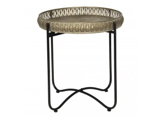 Retro kovový odkládací stolek s patinou - Ø 49*52 cm
