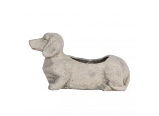 Šedý květináč pes Jezevčík menší - 24*9*13 cm