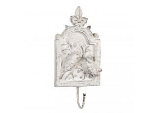 Vintage nástěnný háček v bílém provedení s patinou - 12*3*25 cm