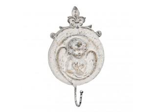 Vintage nástěnný háček s andílkem a patinou - 14*4*25 cm