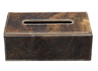 Kožený zásobník na papírové kapesníky hnědá - 25*14*9 cm
