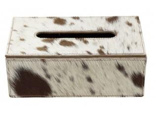 Kožený zásobník na papírové kapesníky hnědá/bílá - 25*14*9 cm