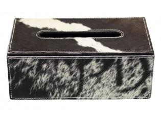 Kožený zásobník na papírové kapesníky černá /bílá - 25*14*9 cm