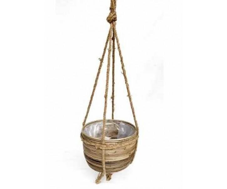 Veliký závěsný ratanový květináč s provazem - Ø40*30 cm