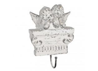 Vintage nástěnný háček s andílky a patinou - 14*5*22 cm