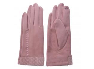 Růžové dámské rukavice s výšivkou - 8*24 cm