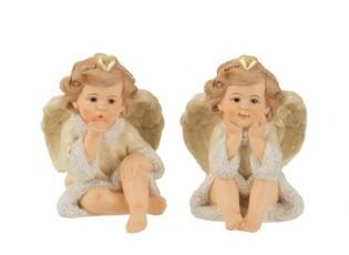 Sada 2x sedící anděl - 8,5*8,5*11,5cm