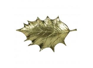 Zlatý dekorační kovový podnos / miska ve tvaru listu - 31*19*2,5cm