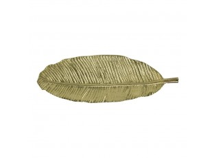 Zlatý dekorační kovový podnos / miska ve tvaru listu Strelitzia - 33*11*2cm