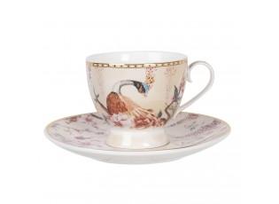 Porcelánový šálek s podšálkem s pávem - 11*8*7 / Ø 16*2 cm / 0.22L