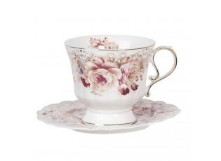 Porcelánový květovaný šálek s podšálkem - 12*9*8 / Ø  15*1 cm / 0.2L