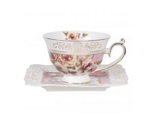 Porcelánový květovaný šálek s hranatým podšálkem  - 12*10*7 / 15*15*2 cm / 0.2L