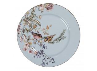 Modrý dezertní taířek s ptáčky Vivi - Ø 20*2 cm