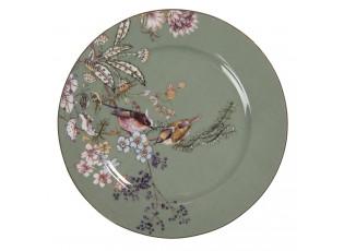 Zelený dezertní taířek s ptáčky - Ø 15*1 cm