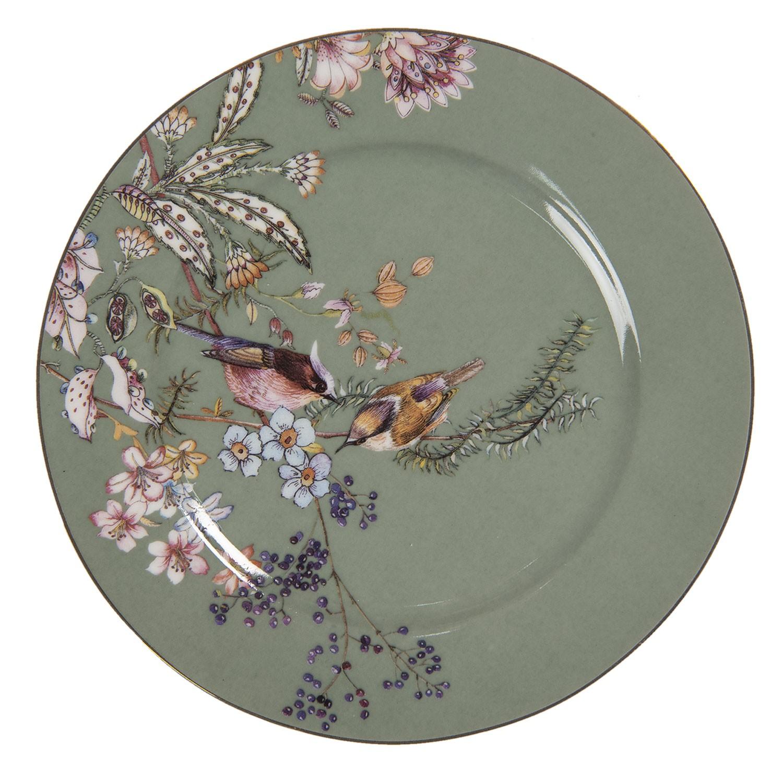 Levně Clayre & Eef Zelený dezertní talířek s ptáčky Vivi - Ø 15*1 cm