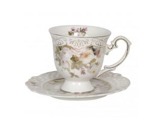 Porcelánový šálek s podšálkem s květinovým motivem – 12*9*9 / Ø 14*1 cm / 0.2L