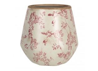 Retro obal na květináč s růžovými květy Mali - Ø 13*14 cm