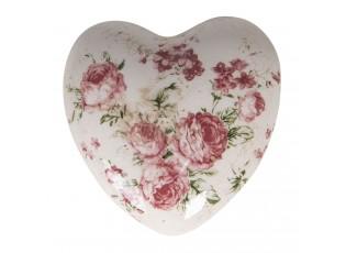 Dekorace vintage srdce s růžemi Rose - 11*11*4 cm