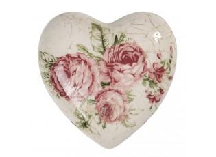 Dekorace vintage srdce s růžemi Rose - 8*8*4 cm
