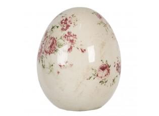 Dekorace vintage vejce s růžemi Rose - Ø 11*14 cm