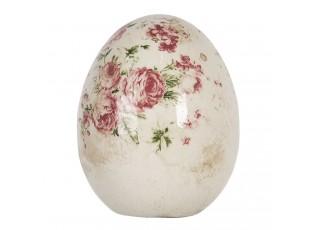Dekorace vintage vejce s růžemi Rose - Ø 9*12 cm