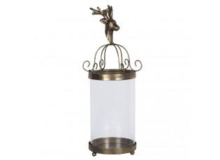 Kovová zlatá lucerna s jelenem – Ø 15*39 cm