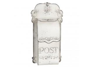 Bílá retro poštovní schránka Post - 24*8*46 cm